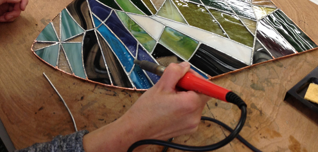 How To Solder Stained Glass.Decorative Stained Glass 3d Flowers Midlands Arts Centre